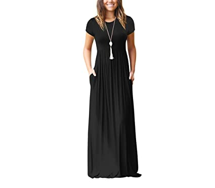 Gudelaa Vestidos Largos Largos de Manga Larga para Mujer Vestido Informal con Bolsillos Negro L