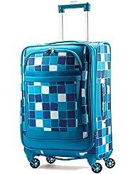 American Tourister Ilite Max Softside Spinner 21, Light Blue Checks