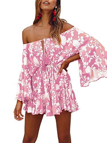 GAMISOTE Womens Off Shoulder Mini Dress Bell Sleeves Boho Floral Print Short Sundress Pink