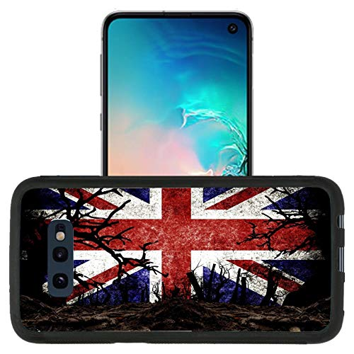 Luxlady Premium Case Designed for Galaxy S10e (2019) TPU Backplate with Silicone Rubber Bumper Case - Image ID 31510476 Halloween Festival and United Kingdom Flag Background