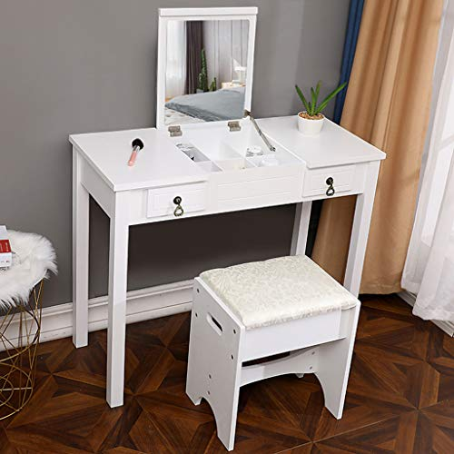 (Sodoop Vanity Table Set with Flip Top Mirror,Wooden Makeup Dressing Table Writing Desk with 2 Drawers Cushioned Stool 3 Removable Organizers Easy Assembly (White))