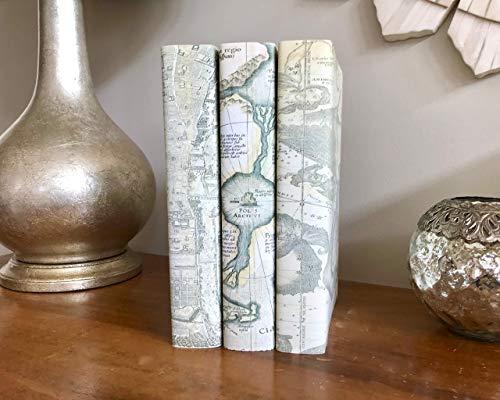 Vintage Maps Decorative Books, Home Decor, Decorative Book Stack, Antique Maps Books, Shabby Chic Book Decor, Housewarming Gift ()