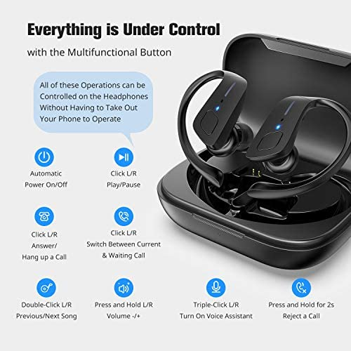 Wireless Earbuds, HolyHigh Bluetooth Earbuds 5.0 ET1 Wireless Headphones IPX7 Waterproof Sport Earbuds with Earhooks Stereo Sound Earphones in Ear for Running Workout Gym(Black) 512NKjnxKRL