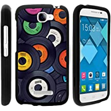 TurtleArmor | Alcatel One Touch Fierce 2 Case | POP Icon Case [Slim Duo] Slim Fit Hard Protector Snap On Case Rubberized on Black Music Design - Vintage Record Discs