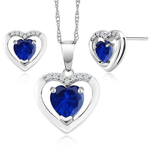 10K White Gold 1.95Ct Heart Blue Simulated Sapphire Diamond Pendant Earrings (Blue Diamond Heart)
