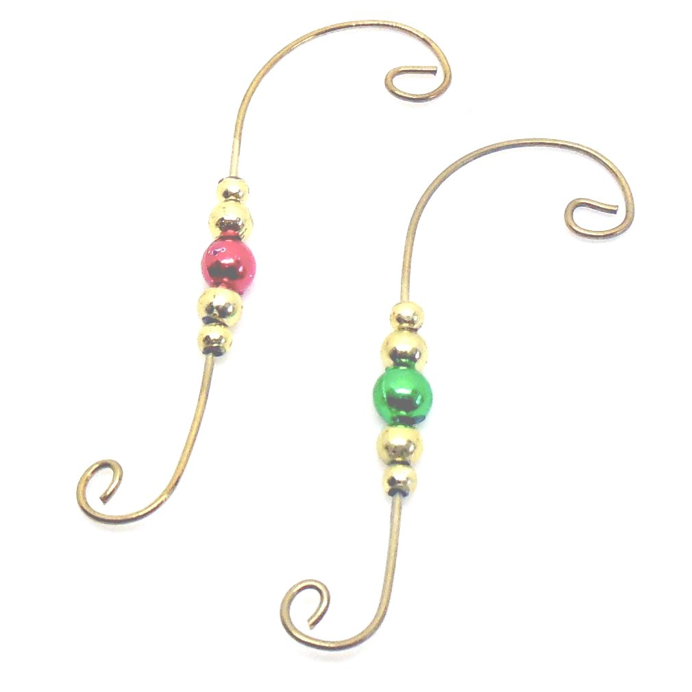 Charmed By Dragons Beaded Ornament Hangers Decorative Holiday Swirl Wire Set of 24 Hooks Gold
