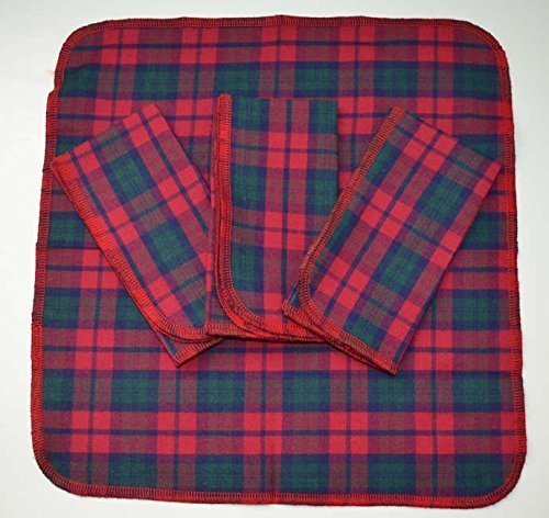 (Brushed Cotton Casual Handkerchiefs 12x12 Inch Set of 4 Red Green with Pinstripe Blue)