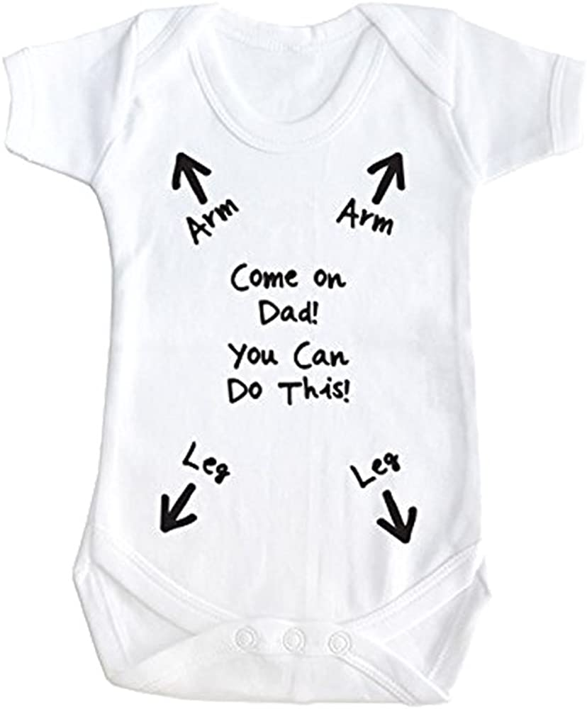 SMARTYPANTS You can do can do it Daddy! Funny Baby Clothes Short Sleeved  Babygrow Bodysuit