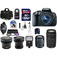 Canon EOS Rebel T5i DSLR Camera with EF-S 18-55mm f/3.5-5.6 IS STM Lens + Canon EF 75-300mm f/4-5.6 III Lens + 32 Gb High Speed Memory Card + Tripod + Telephoto and wide angle lens + Camera Bag + Camera Flash and More... At A Glance Review Image