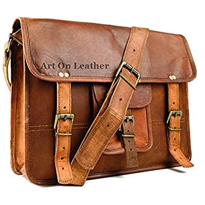 04d40e9290 AOL Leather Messenger Handmade Bag Laptop Bag Satchel Bag Padded Messenger  Bag School Bag 11x15x4 Brown