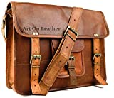 AOL Leather Messenger Handmade Bag Laptop Bag Satchel Bag Padded Messenger Bag School Bag 11x15x4 Brown