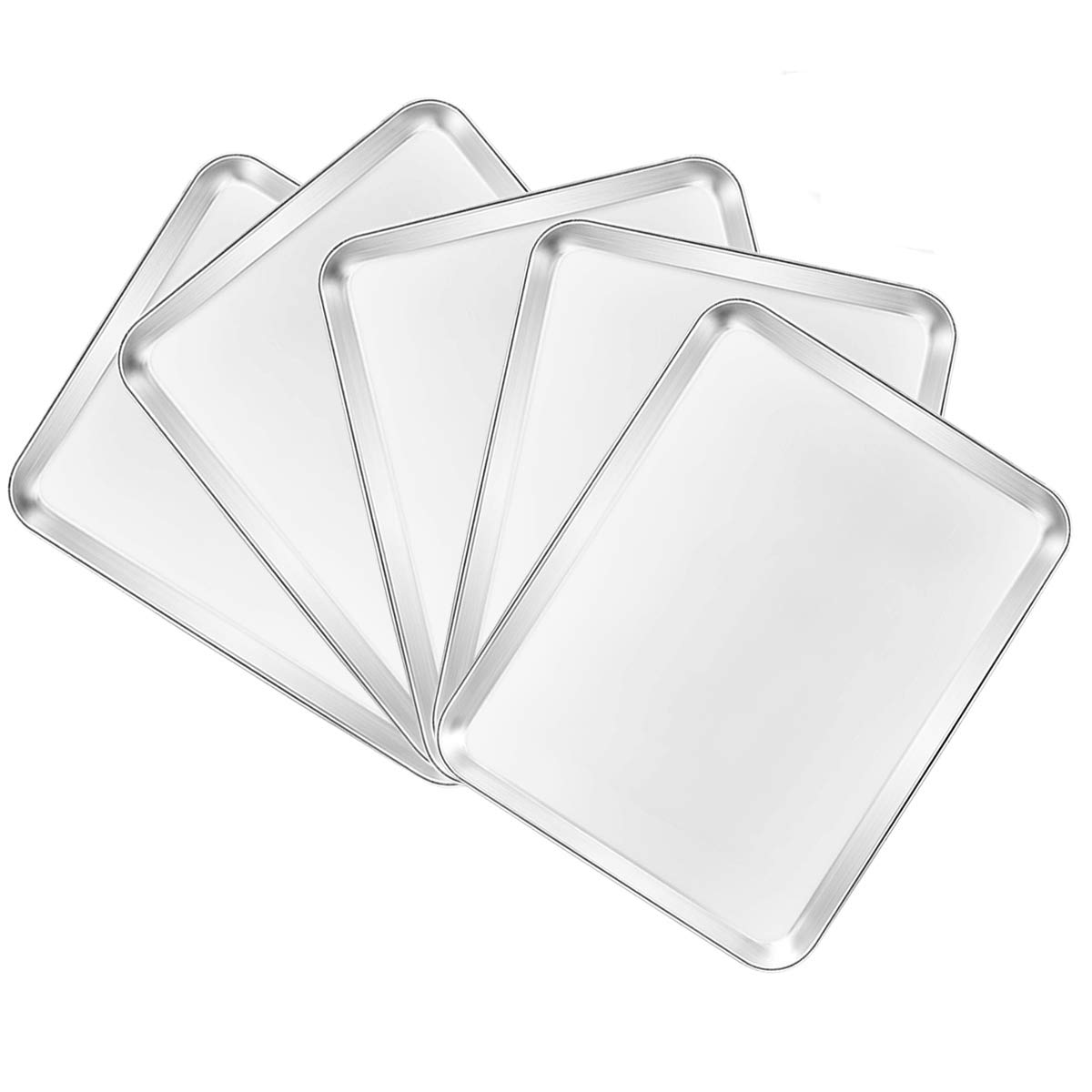 Bastwe Baking Sheet Set of 5, Stainless Steel 5-Piece Cookie Sheet, Toaster Oven Baking Pan Set, Rectangle Size 16 x 12 x 1 inch, Healthy & Non Toxic, Mirror Finish & Rust Free, Dishwasher Safe