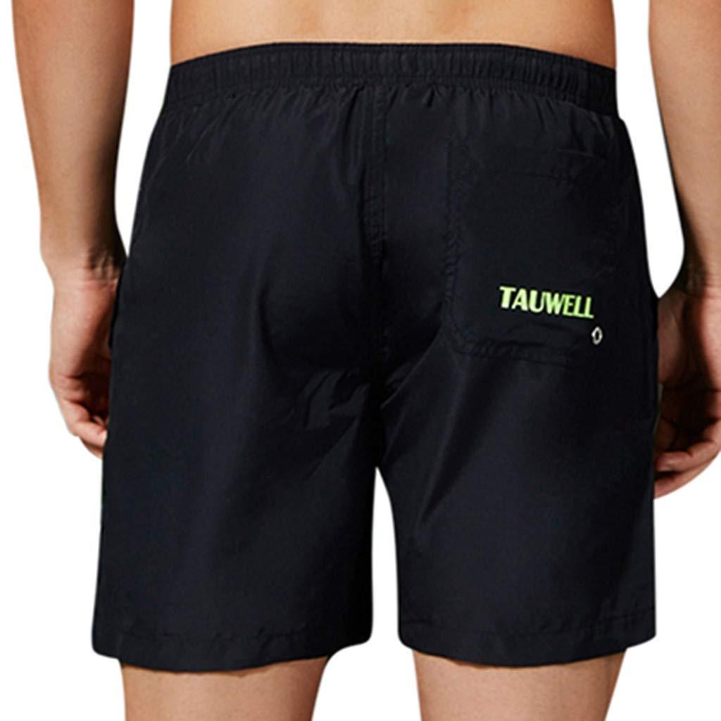 NUWFOR Men's Summer Casual Sport Pattern Loose Beach Quick-Drying Short Pants(Black,US XS Waist:25.20-29.13'')