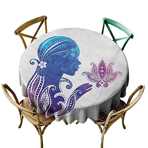 SKDSArts Personalized Tablecloths Teen Girls,Girls Silhouette with Flowers on Her Hair Floral Ornaments Meditation Spa Art,Purple Blue D54,Table Cloth Cover Wedding Event Party