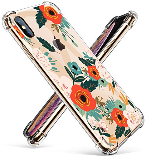 GVIEWIN Clear Flower iPhone XS Max Case, Pattern Design Soft & Flexible TPU Ultra-Thin Shockproof Transparent Girls and Women Floral Cover, Cases for Apple iPhone XS Max 6.5 Inch 2018(Floral Blooming) (Iphone Flower Apple)