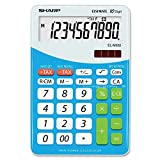 Sharp Chiyogami Blue Calculator-10-Digit, Twin-Powered Desktop Calculator with One Touch Tax Calculations, 3-Key Memory and Conversion Function