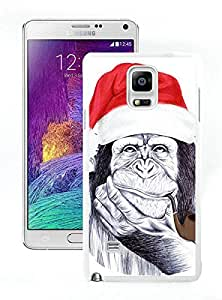 Personalized Hard Shell Christmas Chimp White Samsung Galaxy Note 4 Case 1
