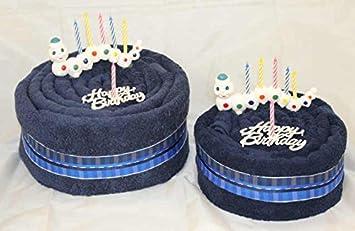 "Toalla de mano Pastel/Tarta ""happy birthday/gusano"", colour azul"