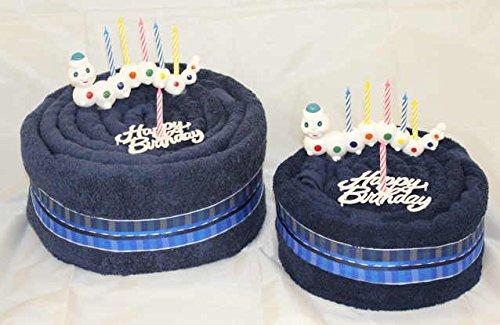 Handtuchtorte   Geburtstagstorte  Happy Birthday Birthday Birthday   Wurm , Farbe dunkelblau, Gr. L B00N6U0X76 Handtücher e54841