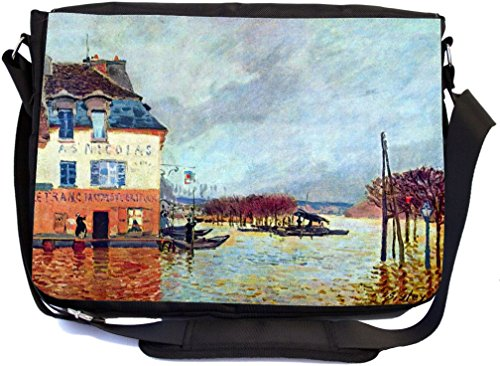 Rikki Knight Alfred Sisley Art Flood at Port Manly Design Multifunctional Messenger Bag - School Bag - Laptop Bag - with Padded Insert for School or Work - Includes Matching ()