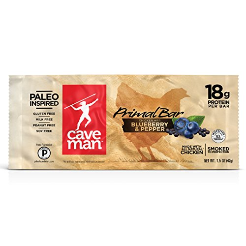Caveman Foods Gluten-Free Paleo Primal Bar, Chicken with Blueberry Pepper, 12 Count