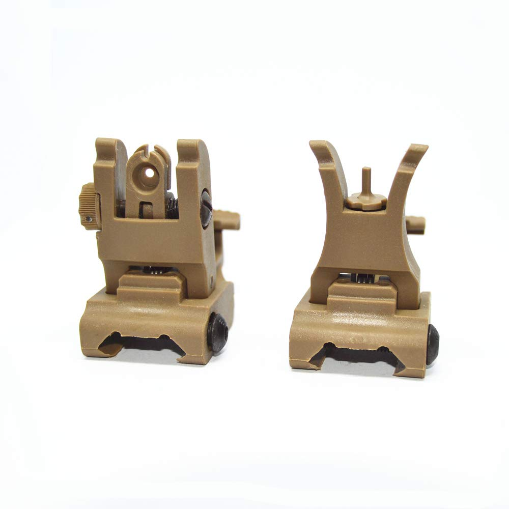 HWZ Front and Rear Sight for Flat Top Rifles Low Profile Flip-Up Sight Set (Sand) by HWZ
