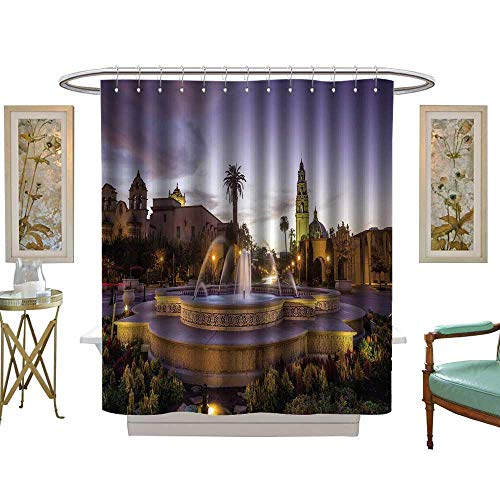 (luvoluxhome Shower Curtains with Shower Hooks san Diego Balboa Park at Twilight in san Diego California USA W48 x L72 Satin Fabric Sets)