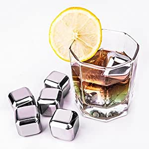 TOPCHANCES® Whiskey Stones - Stainless Steel Reusable Wine Ice Cubes, Whiskey Chilling Rocks, Whisky Stones and Sipping Stones
