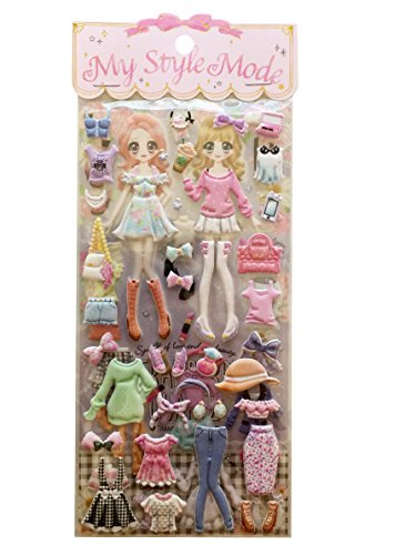 Dress-up Princess Kawaii Doll Puffy Glitter Stickers Play Set 2-sheets My Style Mode Collection1 set per order (Cute Fashionista) - Cotton Candy Cafe
