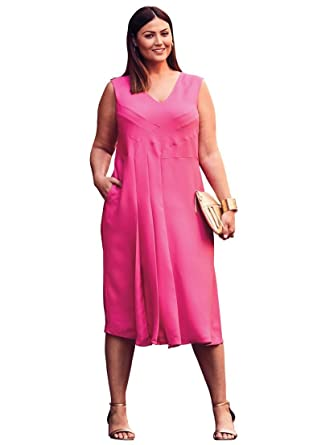 bdfbddccb65 Jessica London Women s Plus Size V-Neck Fit   Flare Dress at Amazon Women s  Clothing store