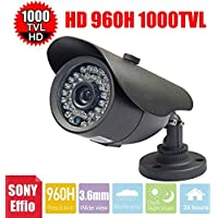 Vanxse Cctv Security Camera 3.6mm Wide Lens 960h 1/3 Sony Effio-e CCD 1000tvl 36ir Leds Waterproof Surveillance Outdoor Bullet Security Camera with Wall Bracket