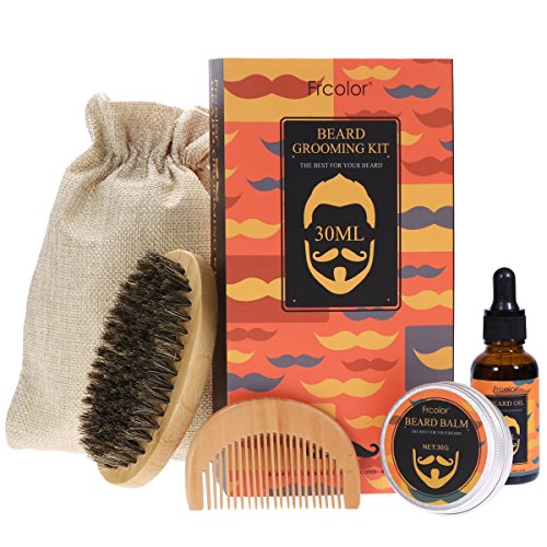 Frcolor Beard Grooming Trimming Kit for Men Beard Care Set – Beard Balm Wax, Beard Growth Oil, Mustache Brush, Wood Beard Comb, Beard Gift Set Box & Friendly Bag