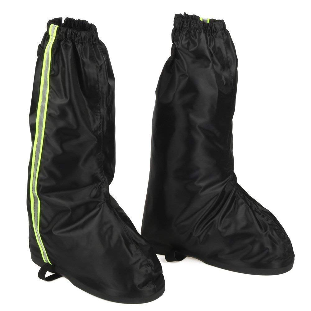 Anti Slip Rain Shoe Covers Waterproof for Motorcycle Boot size Men 8.5-9.5 Women 10-11 with Green Reflective Line and Sturdy Zipper Elastic Bands for Outdoor Activities Hiking Camping Fishing - Black