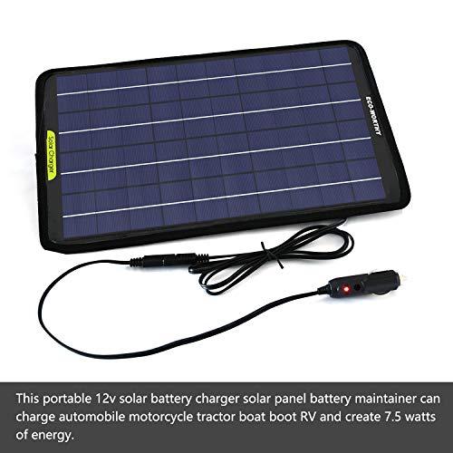 ECO-WORTHY 18 V 12 V 7,5 W Tragbares Solarpanel mit Krokodilklemme
