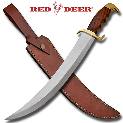 """Classic Bowie Knife 18"""" Red Deer Bowie Knife w/ Wooden Handle & Leather Sheath"""