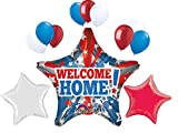 Welcome Home 32 inch Patriotic USA Military Armed Forces Star Balloon Party Decoration Set. Red White and Blue Balloons. by PartyBox!