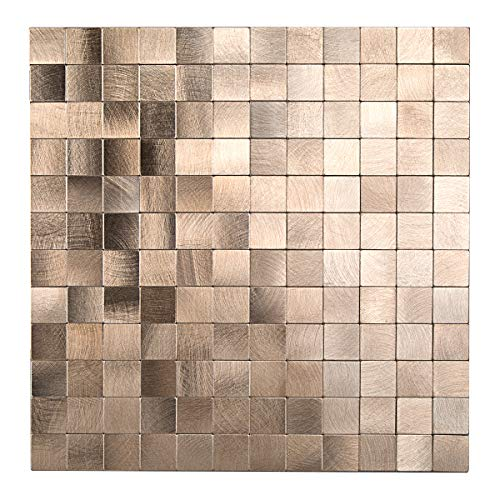 - Decopus Peel and Stick Brushed Aluminum Tile Kitchen Backsplash (Goldish Copper Mosaic MS25) 12in x 12in,5 Sheets