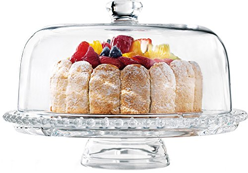 Home Essentials & Beyond Bon Appetit Beaded 6 In 1 Cake Plate Tray With Dome Multifunctional Dessert Pastry Pedestal Centerpiece Serving Stand Chip N Dip Platter Salad Punch Fruit Bowl Clear - Pedestal Dip