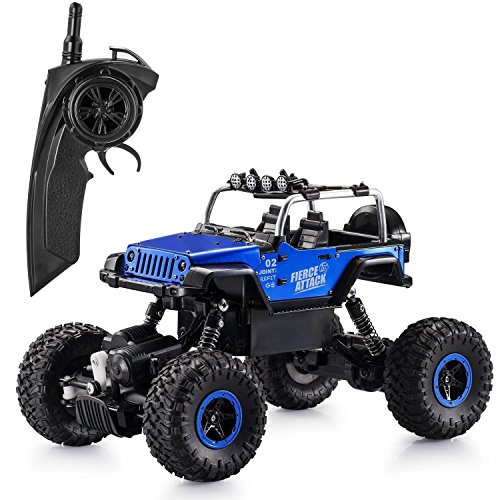 (FSTgo RC Cars 1/18 Metal Shell Remote Control Off-Road Vehicles 2.4GHz 4WD Radio Controlled Trucks Rock Monster Crawler with LED Light)