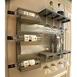 8 Glass Martini or Large Red Wine Glass Rack with Shelves and Decorative Mesh,You Pick the Stain and Mesh Colors Wine and Liquor Cabinet