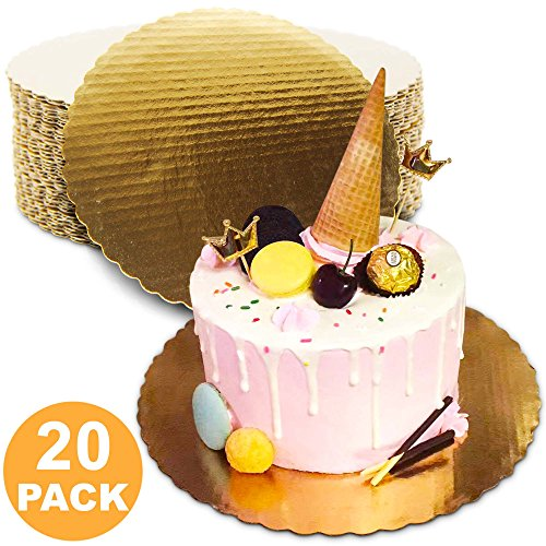([20 Pack] 8 Inches Round Cake Boards - Cardboard Disposable Cake Pizza Circle Scalloped Gold Tart Decorating Base Stand)