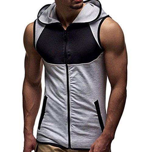 Men's Sleeveless T-shirt,FUNIC Men Summer Fashion Hooded Zipper Vest Tops (Medium, - Mens Top Brand