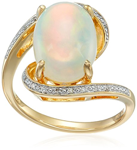 Diamond Accent Bypass Ring - Yellow Gold Plated Sterling Silver Bypass Opal Diamond Accent Ring, Size 6