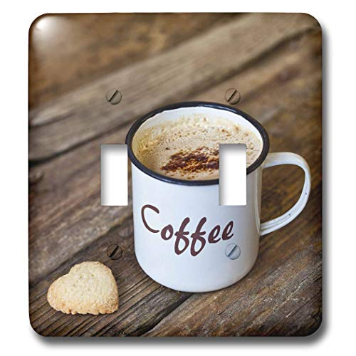3dRose Andrea Haase Still Life Photography - Enamel Coffee Mug With Heart Shaped Cookie - Light Switch Covers - double toggle switch (lsp_288977_2)