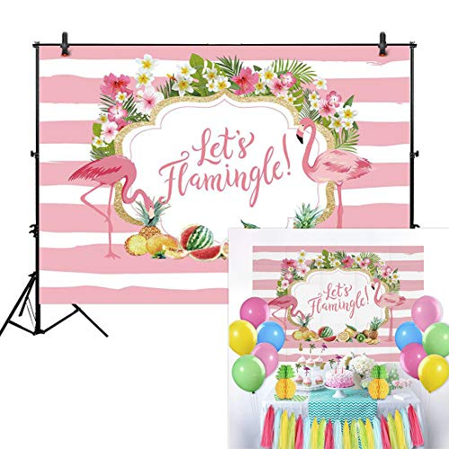 Allenjoy 7x5ft Flamingo Party Backdrop for Summer Tropical Hawaiian Beach Luau Photography Background Birthday Banner Let's Flamingle Sea Fruit Floral Girl Baby Shower Decorations Photo Booth Shoot ()