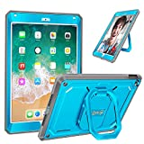 Fintie iPad 9.7 Inch 2018/2017 Case - [Tuatara Magic Ring] 360 Rotating Multi-Functional Grip Stand Shockproof Cover with Built-in Screen Protector, Also Fit iPad Air 2, Blue