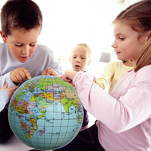 MyToy 40CM Early Educational Inflatable Earth World Geography Globe Map Balloon Toy Beach ()