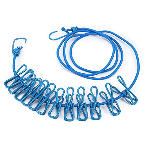 Portable Travel Elastic Adjustable Clothesline with 12 Pcs Clip for Outdoors Travel Home Use Swimming Gift (blue)