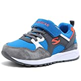 HOBIBEAR Kids Athletic Running Shoes Strap Sport Sneakers Outdoor Blue