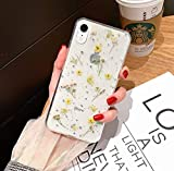 iPhone XR Real Flower Case, YTanazing Soft Clear Flexible Rubber Pressed Dried Flowers Case Girls Glitter Floral Protective Phone Cover for iPhone XR 6.1 inch - Yellow Flowers